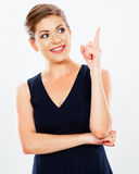 Isolated business woman portrait presenting copy space. Stock Images