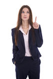 Isolated business woman presenting with her finger over white ba Royalty Free Stock Photography