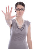 Isolated business woman says stop - concept for bullying. Stock Photography