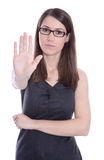 Isolated business woman says stop - concept for bullying. Stock Image