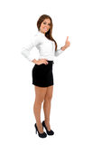 Isolated business woman. Isolated young business woman approval stock photography