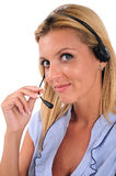 Isolated Business Woman. Isolated Young Business Woman With Headphone Royalty Free Stock Images