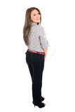 Isolated business woman. Isolated young business woman standing Royalty Free Stock Photo
