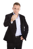 Isolated businessman or advocate making warning gesture with fin. Ger looking serious Stock Photo