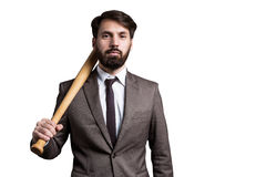 Isolated businessman with bat Stock Photos