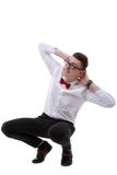 Isolated businessman dodge something stock image