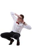 Isolated businessman dodge something Stock Image