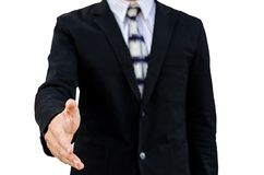 Isolated of businessman extending hand to shake Stock Photography