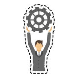 Isolated businessman and gear design Stock Photography