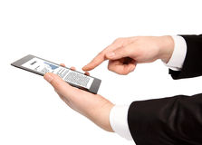 Isolated businessman hand holding tablet with business text on t Royalty Free Stock Photo