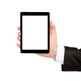 Isolated businessman hand holding a tablet with isolated screen Stock Photography