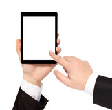 Isolated businessman hand holding tablet with isolated screen Stock Images