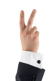 Isolated businessman hand, number two, sign of victory Royalty Free Stock Image