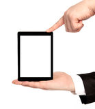 Isolated businessman hands holding tablet with isolated screen Royalty Free Stock Images
