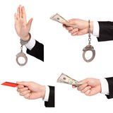 Isolated  businessman hands one gives money another in handcuffs Stock Photo
