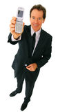 Isolated Businessman Holding Cellphone Smiling Stock Images
