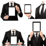 Isolated  businessman holding a touch tablet computer Royalty Free Stock Photography