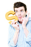 Isolated Businessman With S For Solution On White Stock Photo