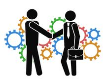 Businessman shake hand on mechanism gears background Stock Images