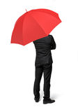 An isolated businessman standing with his back turned under a red umbrella. Business assistance. Consulting services. Start-up incubator stock photo