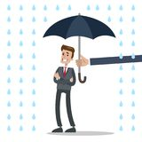 Businessman under protection. Isolated businessman under umbrella protection and rain Stock Photography