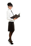 Isolated businesswoman with folder royalty free stock photo