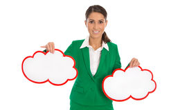 Isolated businesswoman in green holding two signs in red for pro Stock Images