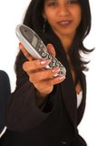 Isolated Businesswoman holding telephone Stock Image