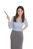 Isolated businesswoman presenting with a pen. Stock Photo