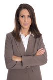 Isolated businesswoman wearing brown suit: business outfit. Royalty Free Stock Images