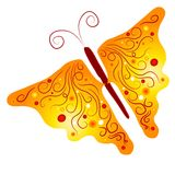 Isolated Butterfly Clip Art. An intricate clipart illustration of a gold colored butterfly with swirling designs and patterns on the wings Stock Photos