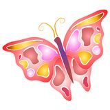 Isolated Butterfly Clip Art 4. An abstract butterfly in pink,yellow,purple and white with white outlines on a white isolated background Royalty Free Stock Photos