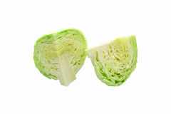 Isolated cabbage sliced on white background with clipping path Stock Photos