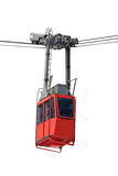 Isolated cable car. Red cable car (tram) isolated on white background Stock Photo