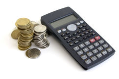 Isolated Calculator And Money Royalty Free Stock Photos