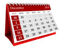 Isolated calendar. 3d illustration of december month calendar isolated over white background Royalty Free Stock Photography
