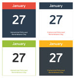 4 isolated calendar sheets for International Holocaust Remembran. 4 isolated calendar sheets for 27th January - International Holocaust Remembrance Day Stock Photography