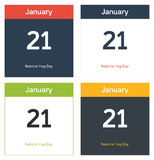 4 isolated calendar sheets for National Hug day. 4 isolated calendar sheets for 21st January - National Hug day Stock Photography