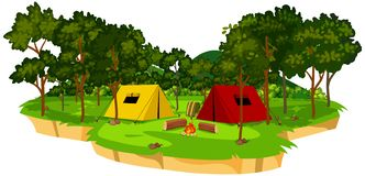 An isolated campsite scene. Illustration royalty free illustration