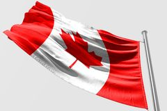 Isolated Canada Flag waving 3d Realistic fabric. Canadian flag floating Royalty Free Stock Images