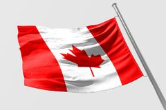 Isolated Canada Flag waving 3d Realistic fabric. Canadian flag floating Royalty Free Stock Photos