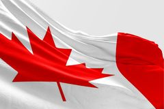 Isolated Canada Flag waving 3d Realistic fabric. Canadian flag floating Stock Photography