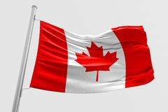Isolated Canada Flag waving 3d Realistic fabric. Canadian flag floating Royalty Free Stock Photography