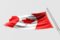 Isolated Canada Flag waving 3d Realistic fabric. Canadian flag floating Stock Image