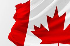 Isolated Canada Flag waving 3d Realistic fabric. Canadian flag floating Stock Photos