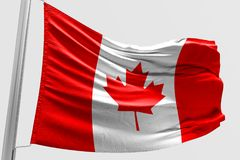 Isolated Canada Flag waving 3d Realistic fabric. Canadian flag floating Stock Photo