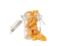 Isolated candied ginger in a jar Stock Photos