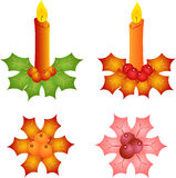 Isolated Candles and Mistletoe Illustrations Stock Photo