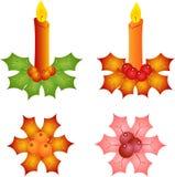 Isolated Candles and Mistletoe Illustrations. Isolated decorative Christmas candles and mistletoes, pink mistletoe, green mistletoe, brown and orange mistletoe Stock Photo