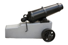 Isolated cannon. A restored 19th century cannon isolated on white Stock Photo